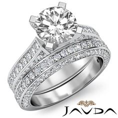 Classic Round Diamond Bridal Set Pave Engagement Ring EGL F VS1 Platinum 3 2 Ct | eBay