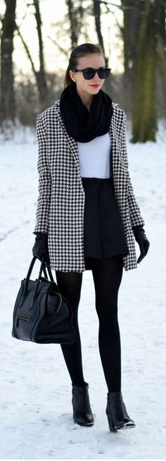 Houndstooth Jacket Black and White Dress Black Tights and Black High Heels