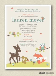 woodland baby shower invite PRINTABLE digital file DIY by ellieohdesigns on Etsy