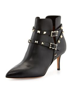 Rockstud+Napa+Leather+65mm+Ankle+Boot,+Black+by+Valentino+at+Neiman+Marcus.