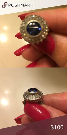 Sterling silver ring Sapphire and baguettes at its finest sterling silver Price is firm no lowballs all of my items have been reduced to the lawyers that I will go Jewelry Rings