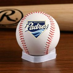 MLB San Diego Padres Team Logo Baseball by Licensed Products. $6.30. Original Team Logo Baseball. Features Rawlings logo on the back and commissioner's signature on the top.. Regulation size white baseball. Regulation size white baseball with red stitching allows your team's logo to take center stage.  Each baseball features the Rawlings logo on the back and commissioner signature on the top.. Save 30% Off!