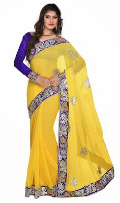 Yellow Chiffon Embroidered Saree with Contrast Blouse.