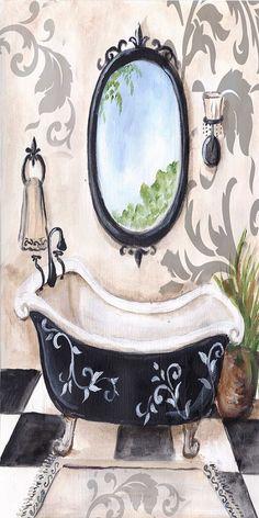 Black Damask Bath (Tre Sorelle Studios)