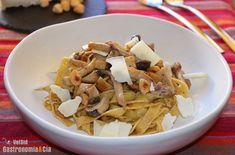 Tallarines con setas, avellanas y queso Camerano | Gastronomía & Cía