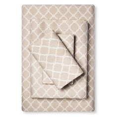 Sheet Set Fretwork Cotton Full Tan : Target