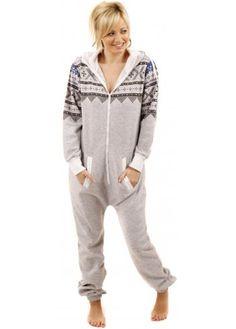 30acb978db Designer Desirables Aztec Print Grey Hooded Fleece Unisex Onesie Chilling
