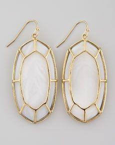Kendra Scott Framed Cabochon Earrings, Mother-of-Pearl...<3