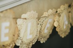 tea stained doilies for a banner