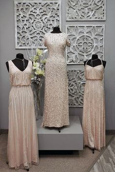Adrianna Papell Bridesmaids Gowns.Left: Style #09190012 in a size 14 and in the Blush color. Retails for around $360  Middle: Style #09187460 in a size 12 and in the Blush color. Retails for around $315 Right: Style #09189118 in a size 6 and in the Blush color. Retails for around $335.