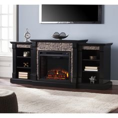 Shop for Harper Blvd Grissom Black Faux Stone Electric Fireplace with Bookcases. Get free delivery at Overstock.com - Your Online Home Decor Outlet Store! Get 5% in rewards with Club O!