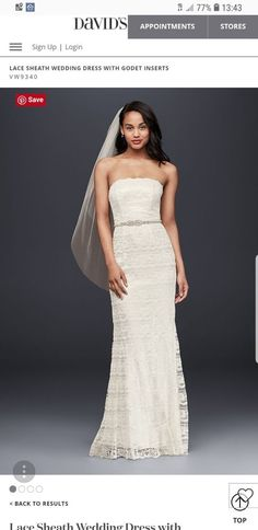 9e43c5cbf69a6 Galina - David s Bridal VW9340 Beaded Lace Wedding Dress in Ivory Size 8  (used)