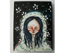 folk art Original girl painting mixed media art by thesecrethermit