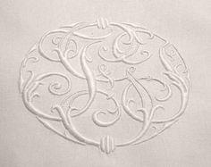 Antique Linens by Em's Heart- Antique French Linen Monogrammed Sheet
