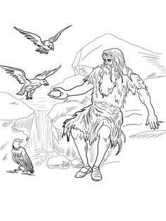 Birds Feed Elijah Coloring Page From Prophet Category Select 20946 Printable Crafts Of