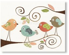 Pájaros de bebé Habitación infantil - decoración niños - vivero pared arte - decoración de la habitación de los niños - infantiles - niños aves - aves de chismes