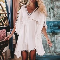 Casual V Collar Loose Embroidery Vacation Dress – ebuytide vacation dresses vacation dresses beach vacation dresses mexico vacation dresses casual summer vacation dresses vacation dresses boho vacation dresses caribbean vacation dresses maxi Weekend Dresses, Beach Dresses, Maxi Dresses, Beach Vacation Dresses, Summer Dresses, Honeymoon Dress, Beach Trip, Dress Outfits, Elegant Dresses
