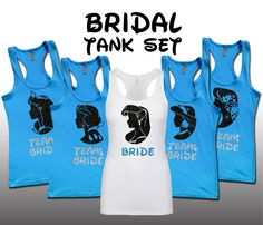 They have more than 12 princesses so everyone can do their own princess. Thry also have flowy tanks, which would be good! Disney princess bridal set bridesmaid bridal bachelorette Tank