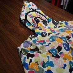 *A Bathing Ape Multi Color Camo Shark Hoodie A Bathing Ape, Shark, Camo, Summer Dresses, Hoodies, Clothing, Fashion, Camouflage, Outfits