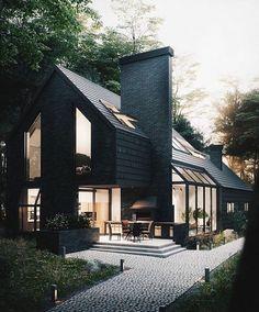 "5,148 Likes, 38 Comments - Vibeke J Dyremyhr (@interior_delux) on Instagram: ""Fab! #villa #blackpaint #exterior #interior_delux Via houzz"""