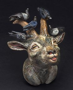 Lisa Naples: Goat with Crows and Magpies