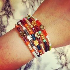 Our #danalevy hamsa hand glass bead mix bracelets r very handy ✋ Mix 'n' match the hamsa charm platings & bead colour combinations to suit your individual taste - handmade to order