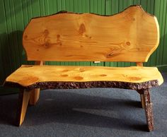 """Pine Slab Bench with Back Ron Jacobs Rustic Wood Creations North Quabbin Woods 50x30x35, Pine Custom order http://www.northquabbinwoods.org/items/237  This unique and sturdy pine bench with back will add charm to your decor--great for your den, mud room, porch or summer camp (indoor use only)!  Appearance will vary with each bench.  Approximate dimensions: 50""""L x 30""""W x 35""""H   Please call for more information: (978) 544-3332.        Ron Jacobs - Rustic Wood Creations"""