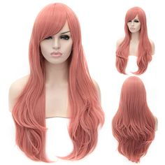 long foggy pink wigs, Long Straight Sideswept Bangs Full Head Wig Breathable Synthetic Anime Cosplay Party Dress Up Wig Daily Basic Hair for Women Plus Free Wig Cap