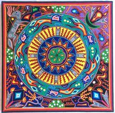 "23.5"" Mexican Huichol Marakame and Peyote Ritual yarn painting"