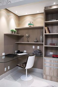 Modern Home Office Design Ideas. Therefore, the demand for home offices.Whether you are intending on adding a home office or renovating an old room into one, below are some brilliant home office design ideas to assist you get started. Cozy Home Office, Tiny Office, Home Office Space, Home Office Design, Home Office Decor, House Design, Office Ideas, Home Decor, Bedroom Office