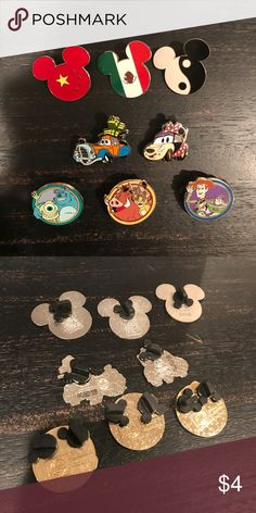 Miscellaneous Disney Pins - $4 Each All of these Disney pins were personally traded for by me in Walt Disney World (FL). Condition is shown to the best of my ability in photos, but please keep in mind these pins have been traded, so there may be slight flaws.   Mix and match your favorite pins for a custom bundle! The price listed is per pin. $15 minimum for bundles. Collectible Disney Pin, Trading Pins, China, Mexico, Yin and Yang, Goofy, Minnie Mouse, Cars, Hannah Montana, Miley Cyrus…