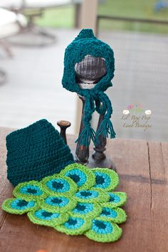 My sweet peacock set    Crochet Peacock Hat and Diaper Cover Set by LionandLambPhotos, $40.00