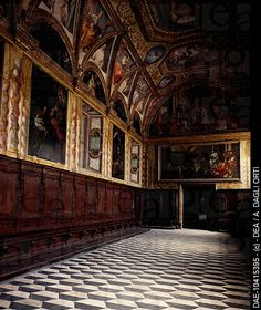 Charter house with 17th century wooden choir, Certosa of San Martino, Naples, Campania. Italy, 16th-17th century.