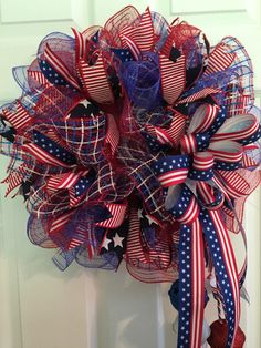 Patriotic Wreath, Fourth of July Wreath, Memorial Day Wreath, wreath, Deco mesh Wreath, red white and Blue Wreath, Anytime Wreath by RoesWreaths on Etsy https://www.etsy.com/listing/237076567/patriotic-wreath-fourth-of-july-wreath
