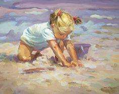 PLAGE BLONDE jeune fille à la plage.   Impression d