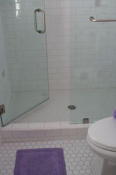 Tile in shower walls and floor