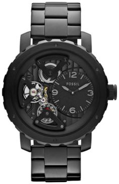 Fossil Watches, Men's Nate Twist Stainless Steel Watch - Black #ME1133