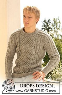 Boy in cabled aran sweater Knitting Stiches, Sweater Knitting Patterns, Knit Patterns, Clothing Patterns, Mens Knit Sweater, Cable Knit Sweaters, Male Sweaters, Drops Design, Sweater Outfits