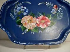 A Metal Tray Base Painted Blue Hand Painted by FolkArtByNancy