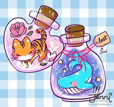 More bottle spirits   .  .  .  #tiger #whale #spirits #magical #galaxy #floral #jennilustrations