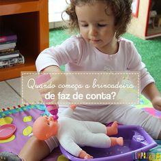 Por volta dos 2 anos de idade a criança entra nos jogos simbólico e começa a brincadeira de faz de conta no seu cotidiano.