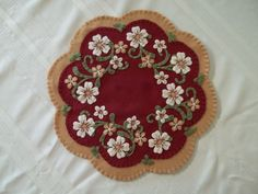 """Primitive Country  """"flowers and hearts"""" Candle Mat w/free shipping!"""