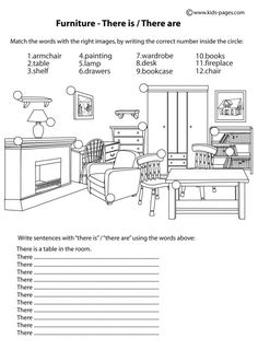 Furniture - There Is / There Are B&W worksheets