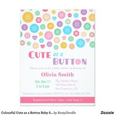 Colourful Cute as a Button Baby Shower Invitations