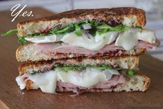 Grilled Cheese with Fig Jam, Goat Brie, Applewood Smoked Ham & Arugula * #glutenfree * This would be good with post T-ging turkey