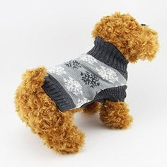 Mikey Store Pet Dog Christmas Snowflake Printed Clothes Puppy Winter Sweater Costume Coat Gray M -- Read more reviews of the product by visiting the link on the image.(This is an Amazon affiliate link)