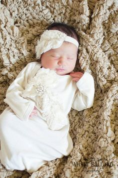 Gorgeous Take me Home Outfit Gown in Vintage Ecru Ivory Feather for Infant Newborn photo prop Wedding an Oh BABy Original. $65.00, via Etsy.