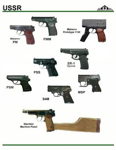 In this image, you may find Ussr Handguns Types in it. Weapons Guns, Guns And Ammo, Concept Weapons, Fire Powers, Military Guns, Military Equipment, War Machine, Firearms, Hand Guns