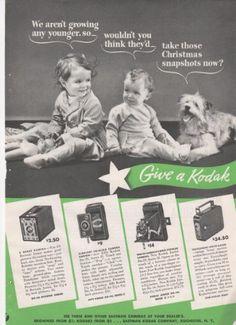 Eastman Kodak Cameras Give A Kodak Babies Dog 1937 Vintage Antique Advertisement