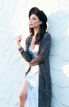 long knit cardi and hat